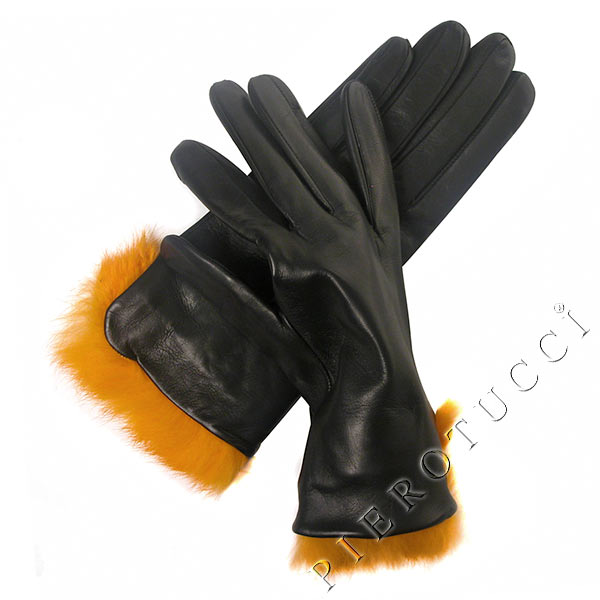Fur trimmed Italian leather gloves