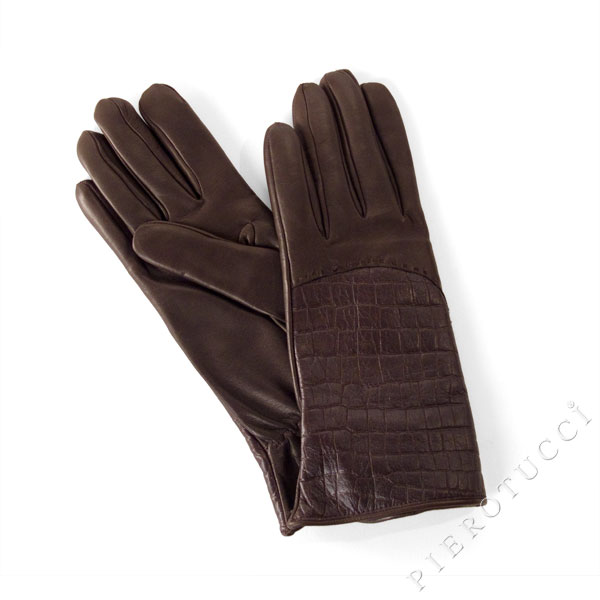 Italian leather Gloves with faux alligator print
