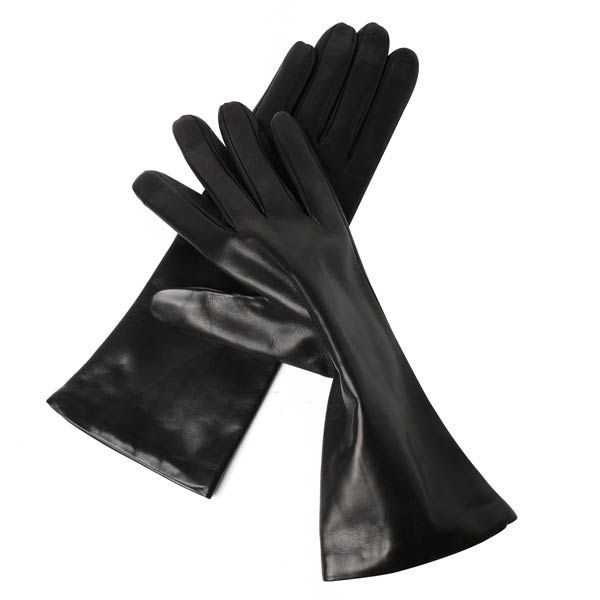 Classic Italian lambskin leather 4 button length gloves