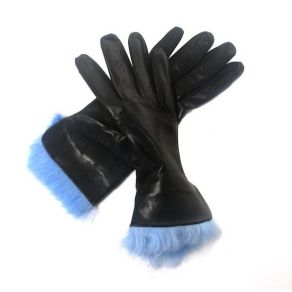 Black leather gloves with fur trim