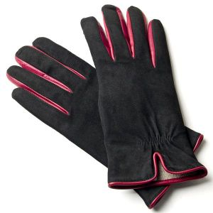 Suede gloves with back vent