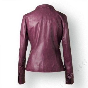 Wine colored FW Italian leather Jacket for Women