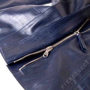 Ladies Italian leather jacket in a deep blue