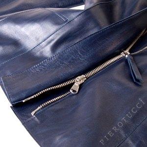 Ladies Italian leather jacket in a deep blue