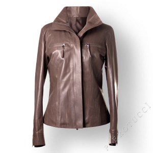 Taupe colored designer leather jacket for ladies from Italy