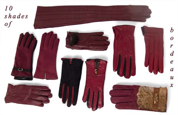 50 shades of bordeaux Italian leather gloves form Pierotucci