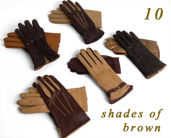 Italian leather gloves in various shades of brown.