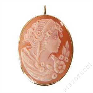 Carnelian or Cornelian Shell Cameo with 18K yellow gold