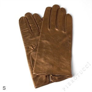 Metallic colored leather in silk lined gloves.