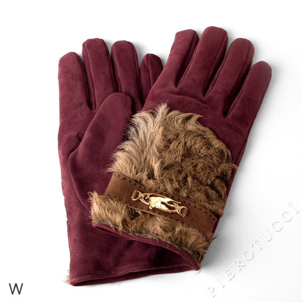 Suede leather with contrasting accents for this pair of leather gloves.