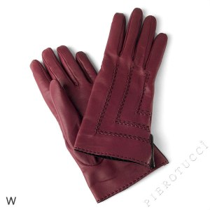 Ladies gloves in ox blood colored Italian lambskin