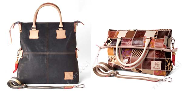 FORTUANTA Italian handbag from mixed pieces of hand cut leather