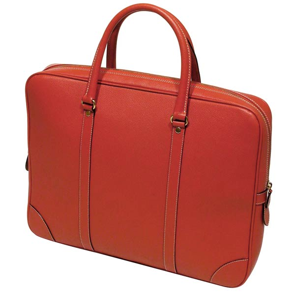Business Briefcase with top handles in firm grain leather:  Tomato Red