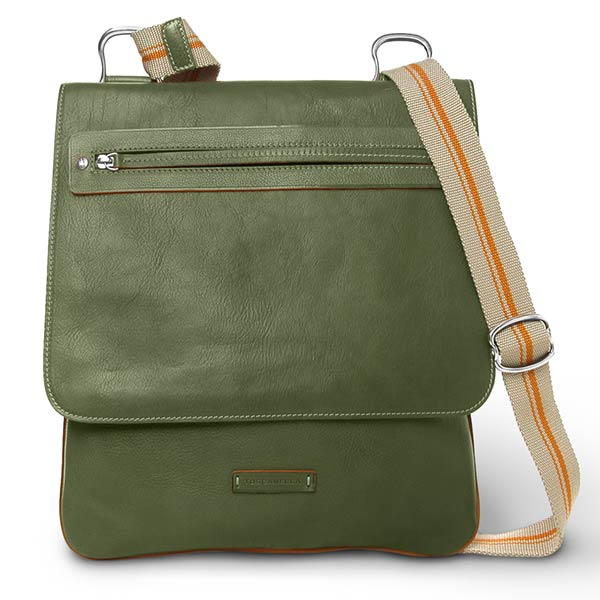 Messenger Bag in Vegetable tanned vacchetta leather from Italy: Olive green