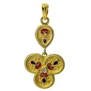 18K Yellow Gold Pendant Etruscan