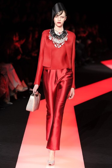 Armani Prive S 2013 showing red satin and Italian leather handbags