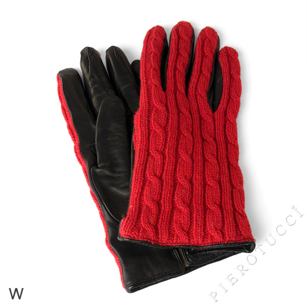 Italian leather gloves with red knit accents