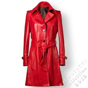 Red leather trench coat from Pierotucci for women