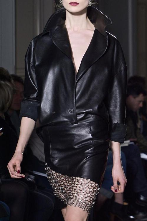 anthony vaccarello FW13 leather skirt or leather jacket