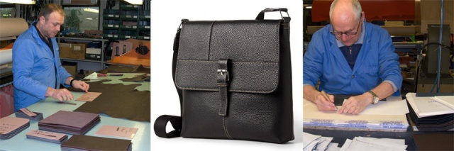Leather messenger bag in soft grain embossed leather