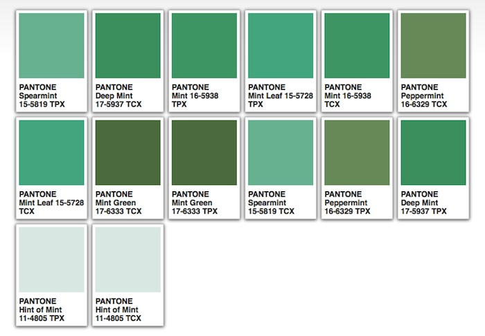 mint green pantone - Mint Green Colors