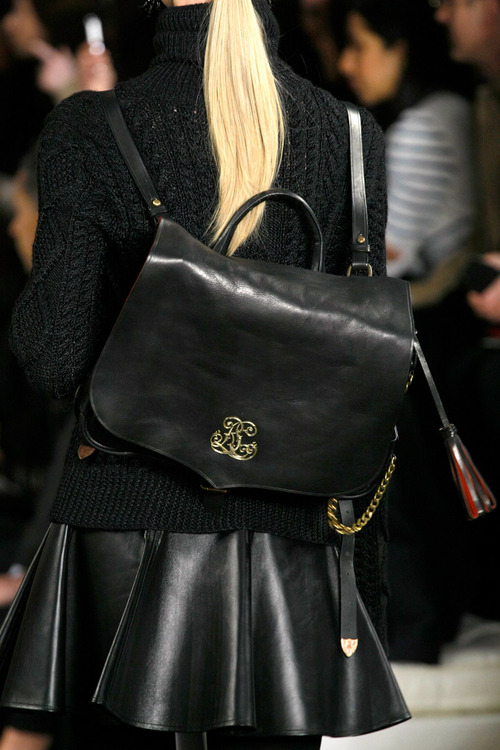 Ralph Lauren AW 2013 leather skirt and messenger bag