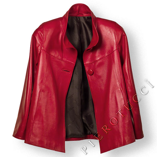 Red Italian Leather jacket for Women