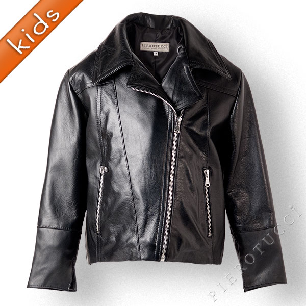 Black leather jacket for kids