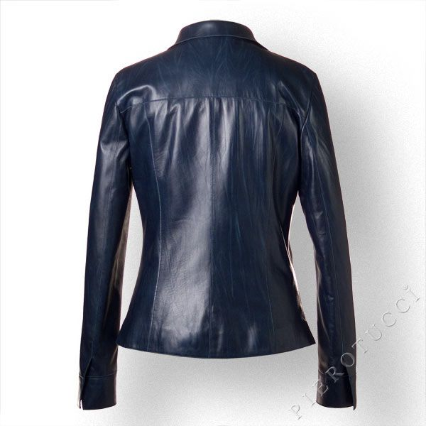 Ladies Italian #LeatherJacket in Monaco Blue