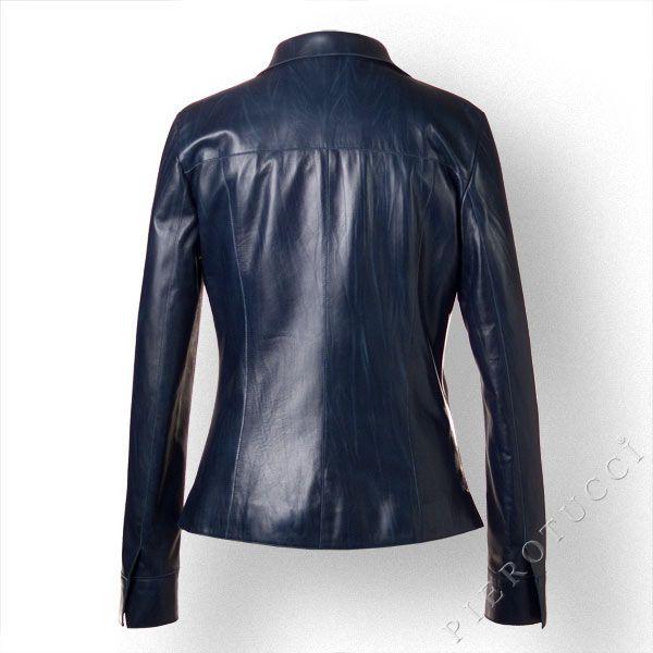 Ladies Italian #LeatherJacket in Monaco Blue