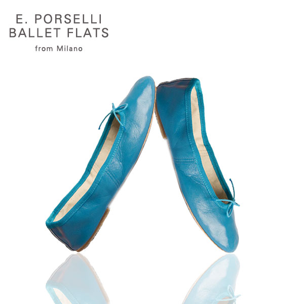 porselli ballet flats in celeste colored leather