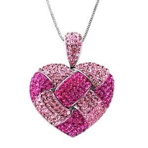 3 - Pink heart Swarovski crystals