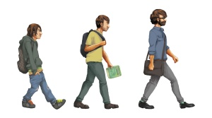 evolution-student and their messenger bags