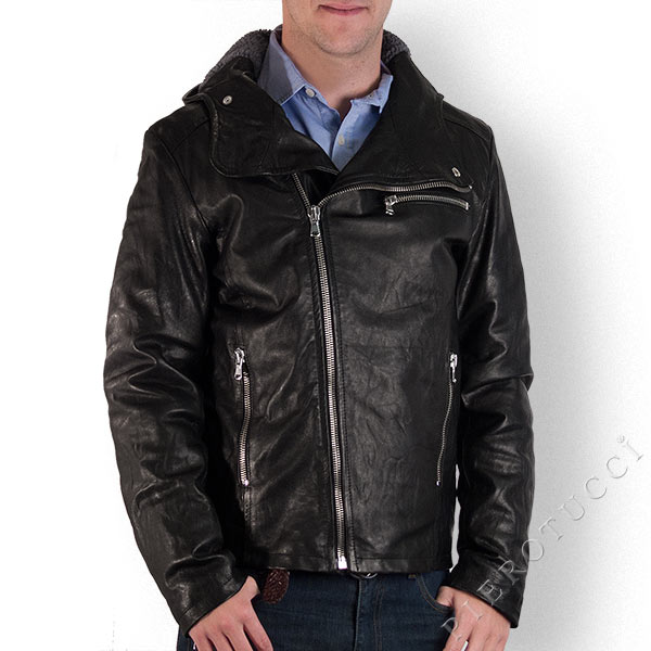 Men's vintage look, leather hoodie jacket