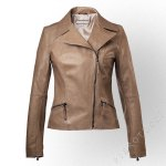 Neutral Spring colored Italian leather Jacket